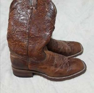 Boulet Hand Tooled Square toe boots